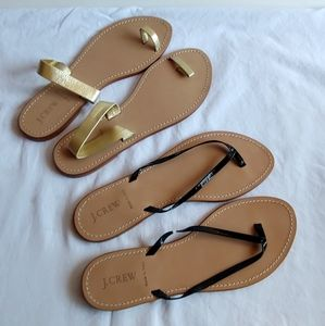J.Crew Leather Flip Flops Size 10 two pair